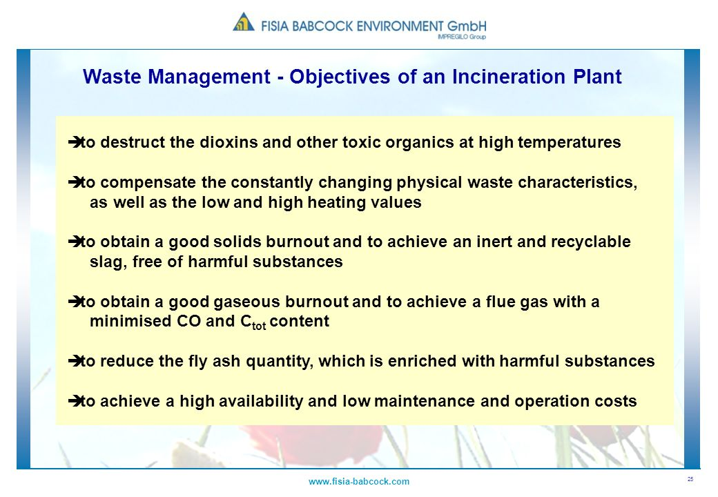 Waste Management - Objectives of an Incineration Plant