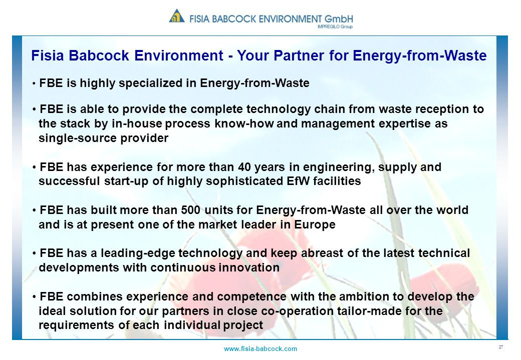 Fisia Babcock Environment - Your Partner for Energy-from-Waste