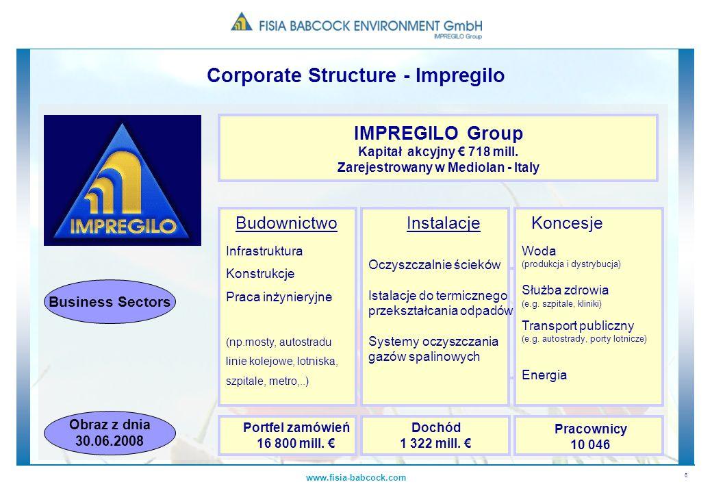 Corporate Structure - Impregilo Zarejestrowany w Mediolan - Italy