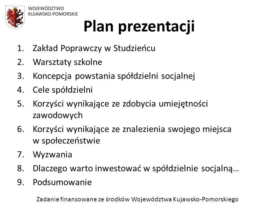 Plan prezentacji Zakład Poprawczy w Studzieńcu Warsztaty szkolne