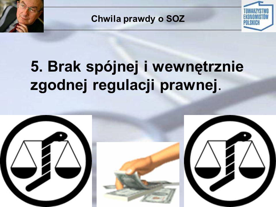 5. Brak spójnej i wewnętrznie zgodnej regulacji prawnej.