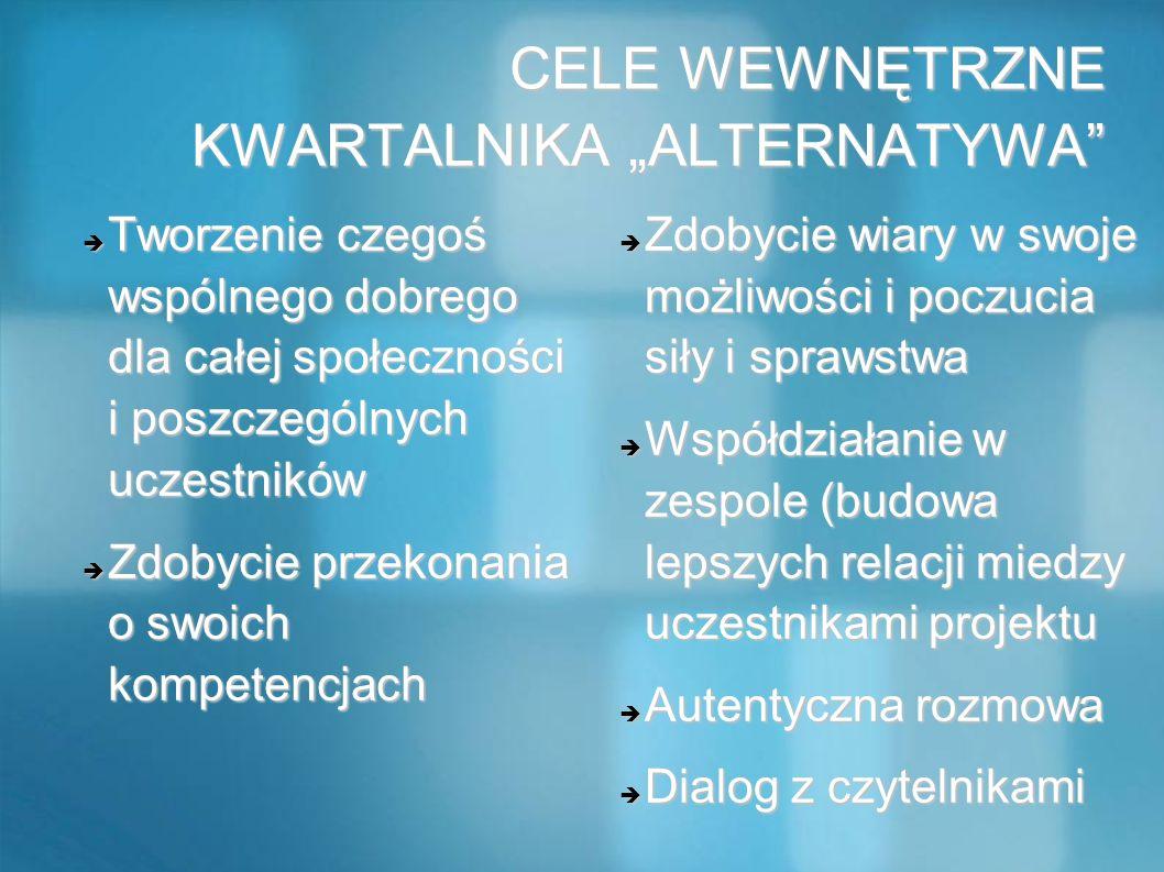 """CELE WEWNĘTRZNE KWARTALNIKA """"ALTERNATYWA"""