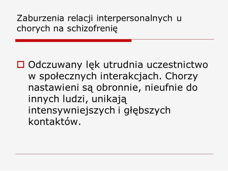 Zaburzenia relacji interpersonalnych u chorych na schizofrenię