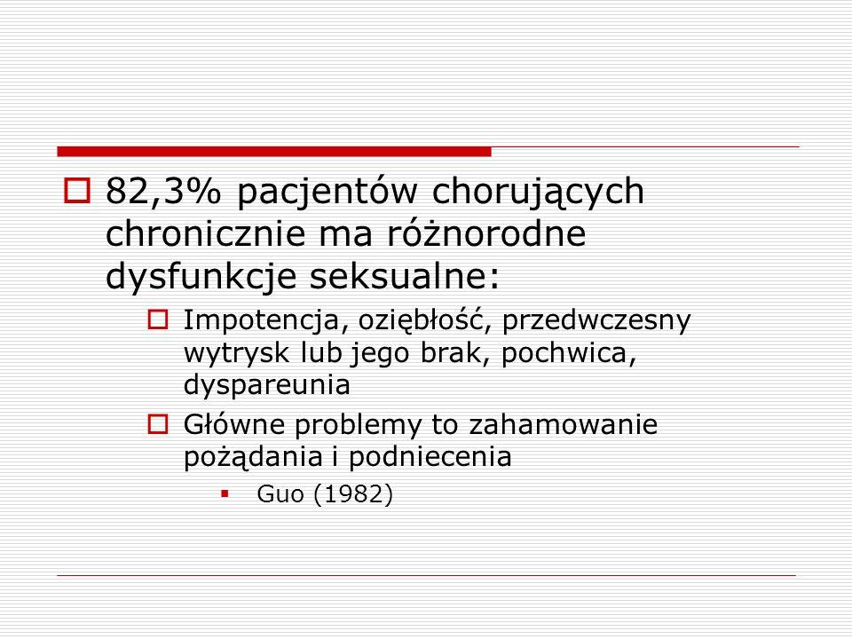 82,3% pacjentów chorujących chronicznie ma różnorodne dysfunkcje seksualne: