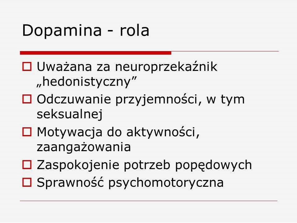 """Dopamina - rola Uważana za neuroprzekaźnik """"hedonistyczny"""