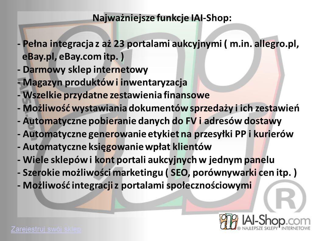 Najważniejsze funkcje IAI-Shop: