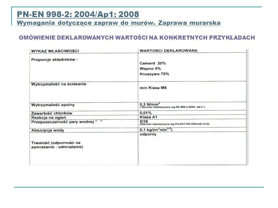 PN-EN 998-2: 2004/Ap1: 2008 Wymagania dotyczące zapraw do murów