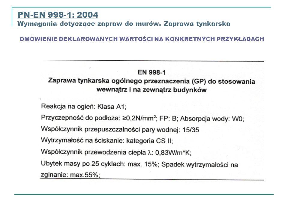 PN-EN 998-1: 2004 Wymagania dotyczące zapraw do murów