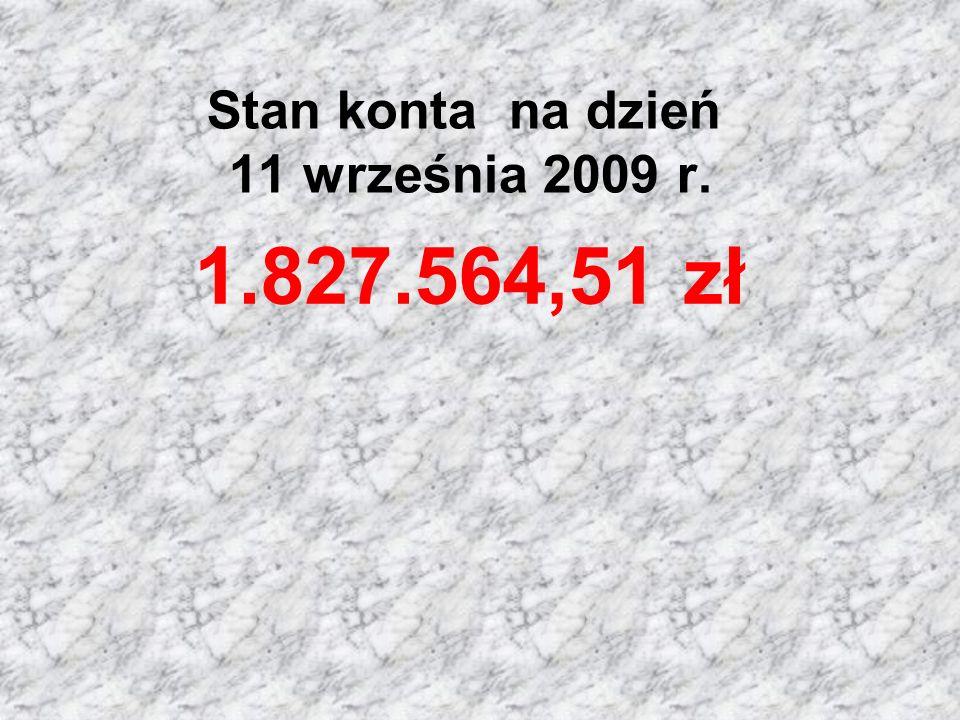 Stan konta na dzień 11 września 2009 r.
