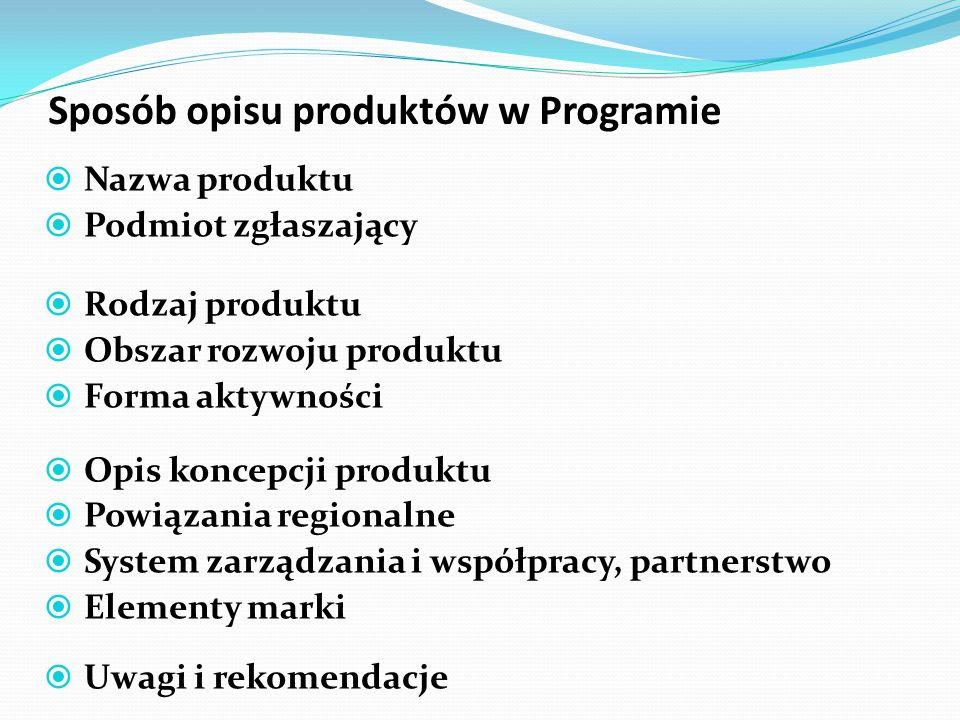 Sposób opisu produktów w Programie