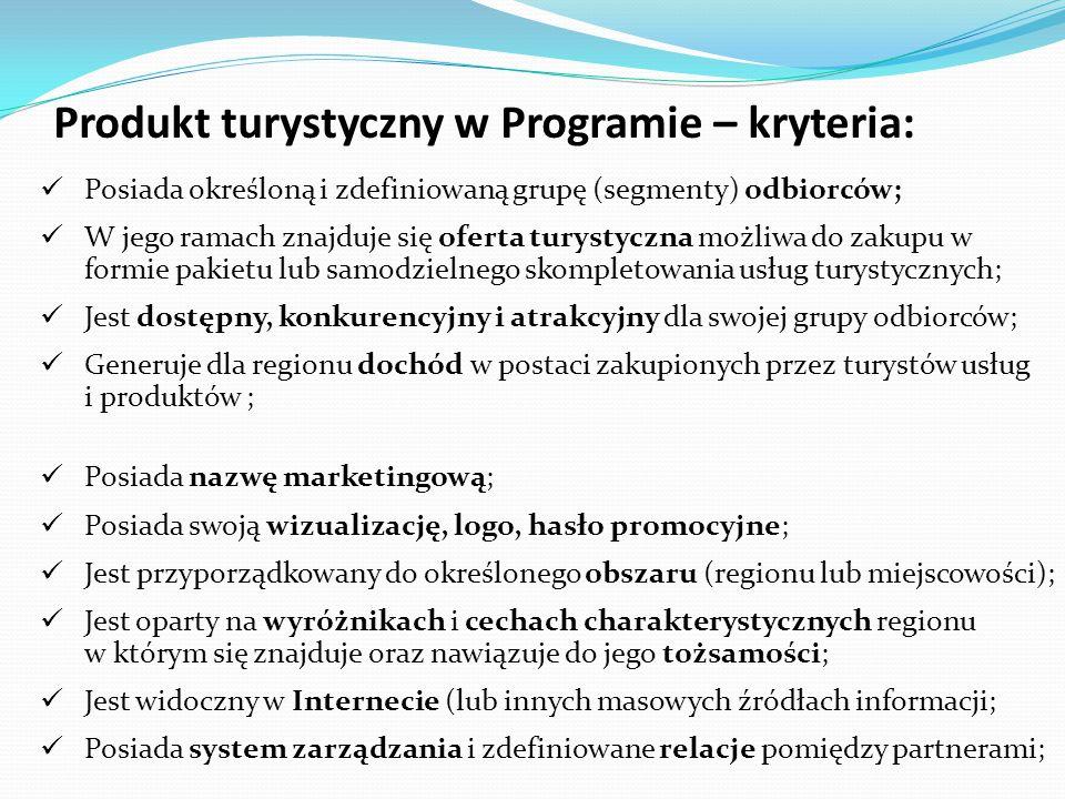 Produkt turystyczny w Programie – kryteria: