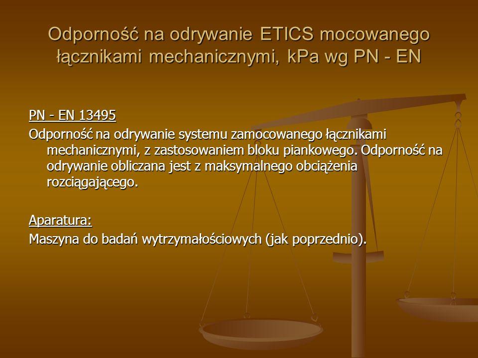 Odporność na odrywanie ETICS mocowanego łącznikami mechanicznymi, kPa wg PN - EN