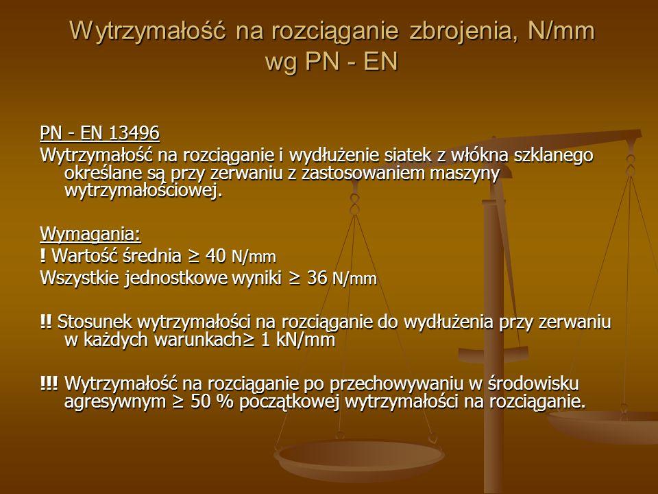 Wytrzymałość na rozciąganie zbrojenia, N/mm wg PN - EN