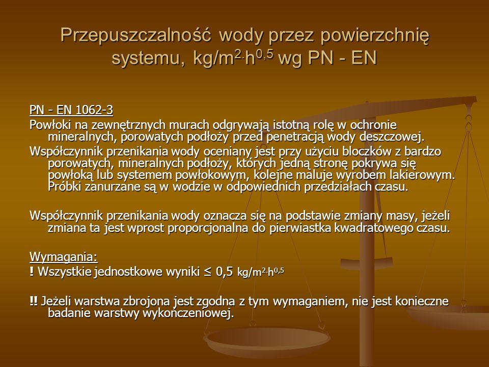 Przepuszczalność wody przez powierzchnię systemu, kg/m2