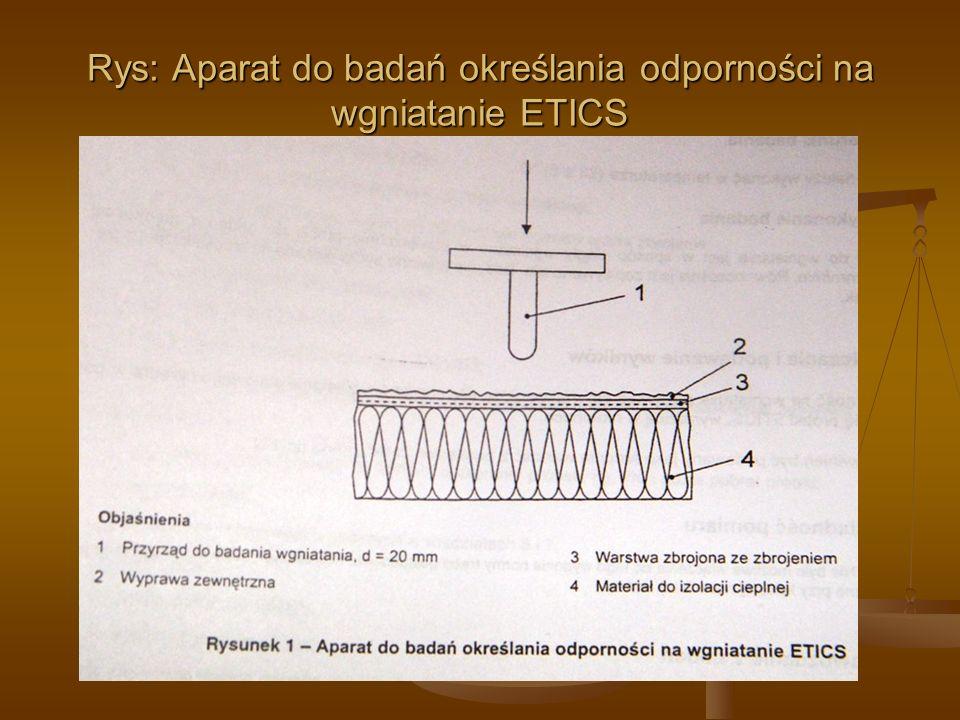 Rys: Aparat do badań określania odporności na wgniatanie ETICS
