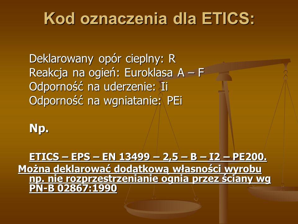 Kod oznaczenia dla ETICS: