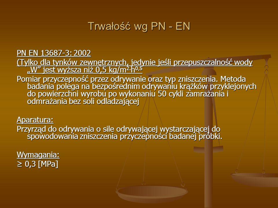 Trwałość wg PN - EN PN EN 13687-3: 2002