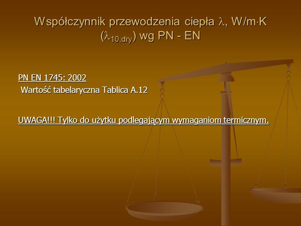 Współczynnik przewodzenia ciepła , W/mK (10,dry) wg PN - EN