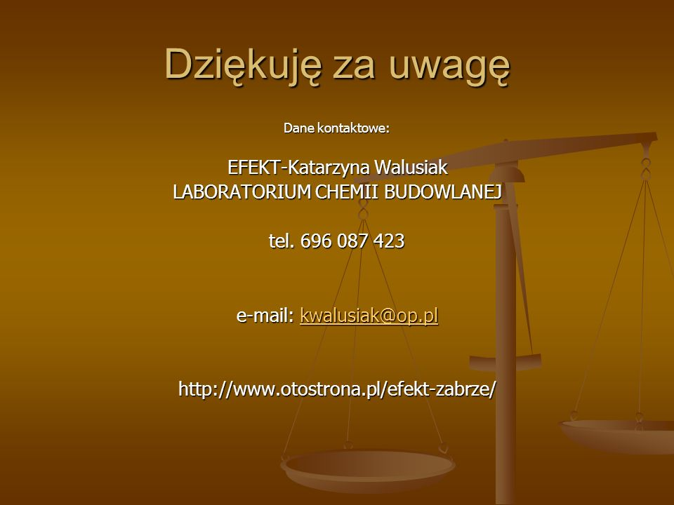 Dziękuję za uwagę EFEKT-Katarzyna Walusiak