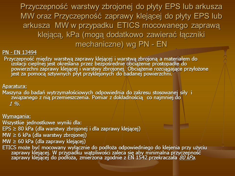 Przyczepność warstwy zbrojonej do płyty EPS lub arkusza MW oraz Przyczepność zaprawy klejącej do płyty EPS lub arkusza MW w przypadku ETICS mocowanego zaprawą klejącą, kPa (mogą dodatkowo zawierać łączniki mechaniczne) wg PN - EN