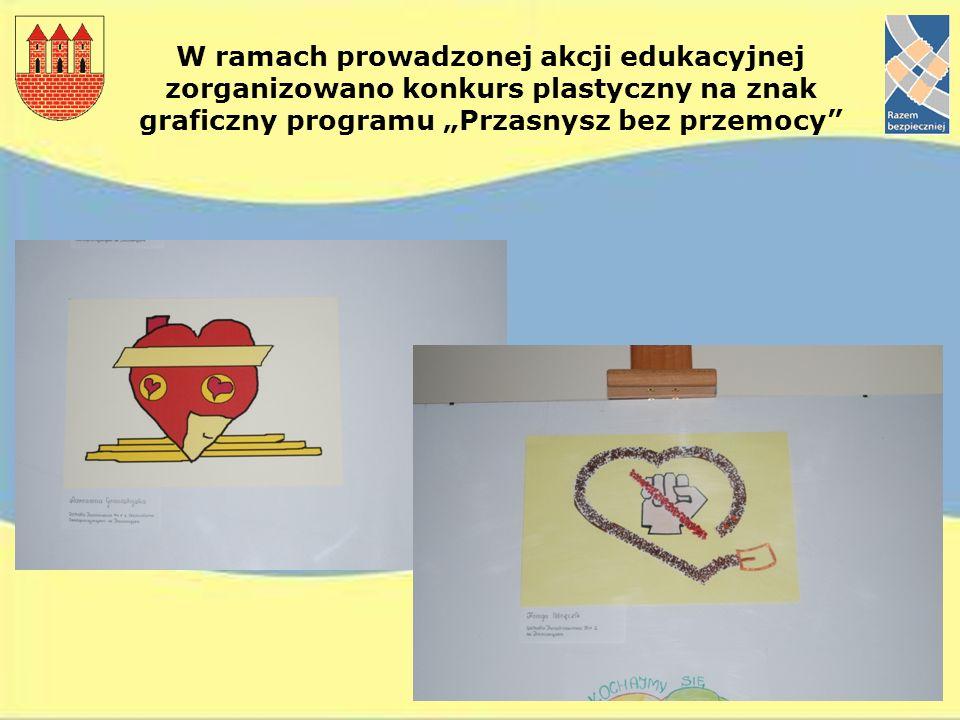 """W ramach prowadzonej akcji edukacyjnej zorganizowano konkurs plastyczny na znak graficzny programu """"Przasnysz bez przemocy"""