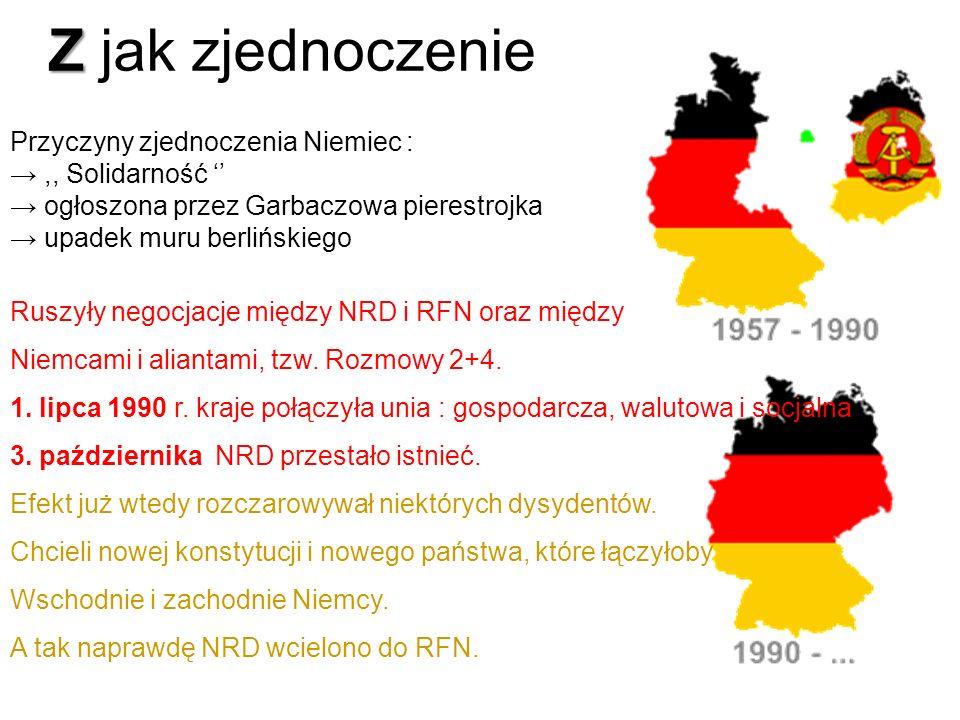 Z jak zjednoczenie Przyczyny zjednoczenia Niemiec :
