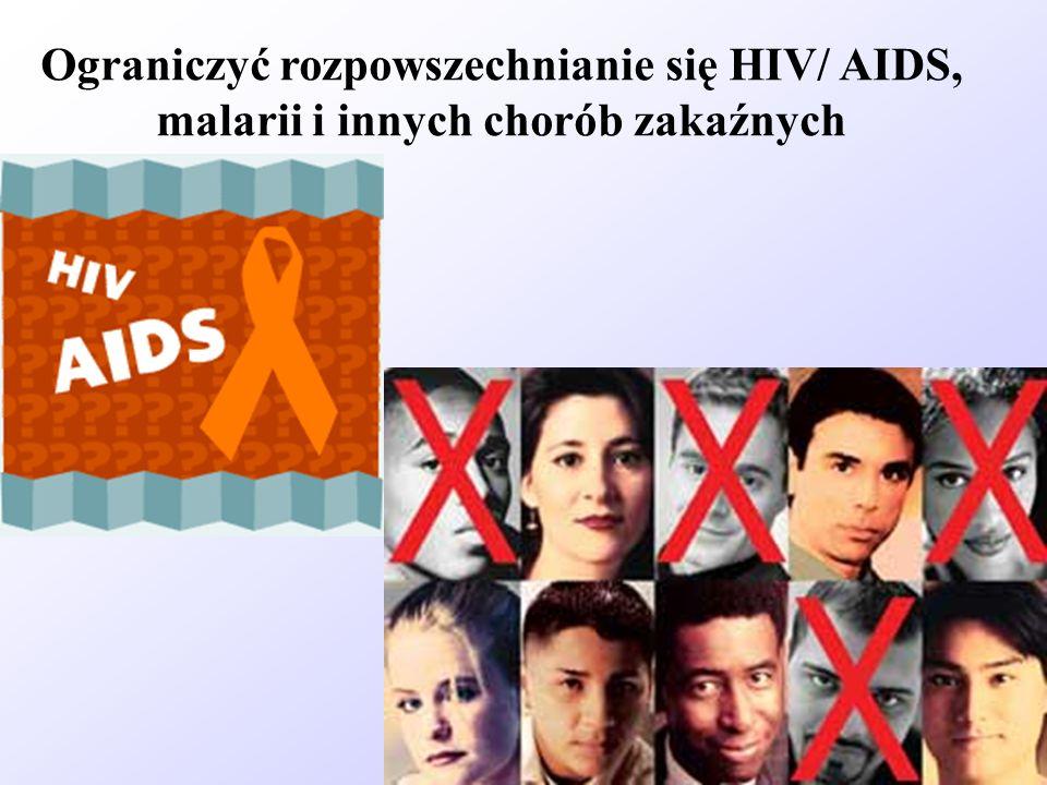 Ograniczyć rozpowszechnianie się HIV/ AIDS, malarii i innych chorób zakaźnych
