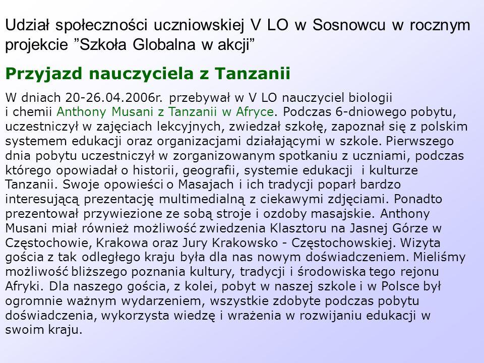 Przyjazd nauczyciela z Tanzanii
