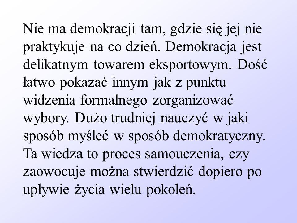 Nie ma demokracji tam, gdzie się jej nie praktykuje na co dzień