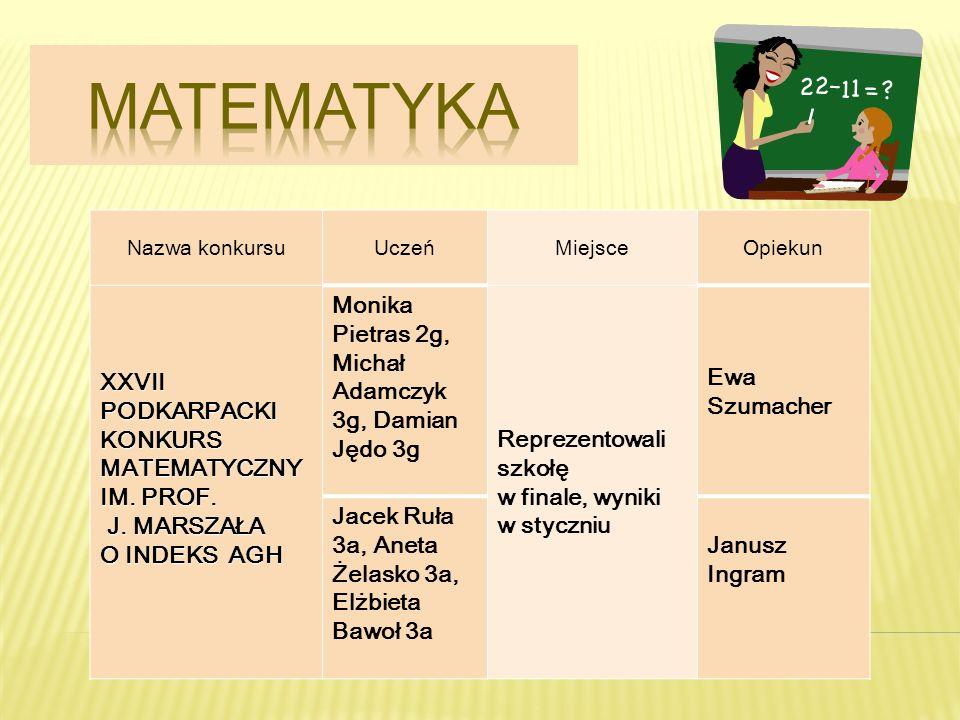 matematyka XXVII PODKARPACKI KONKURS MATEMATYCZNY IM. PROF.