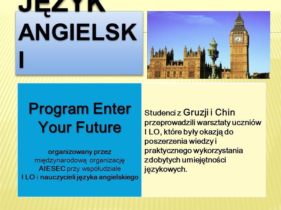 Program Enter Your Future