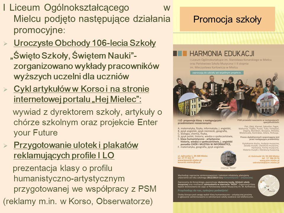 I Liceum Ogólnokształcącego w Mielcu podjęto następujące działania promocyjne:
