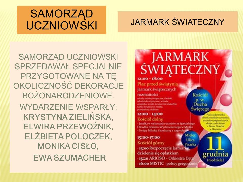 Samorząd uczniowski Jarmark Świateczny