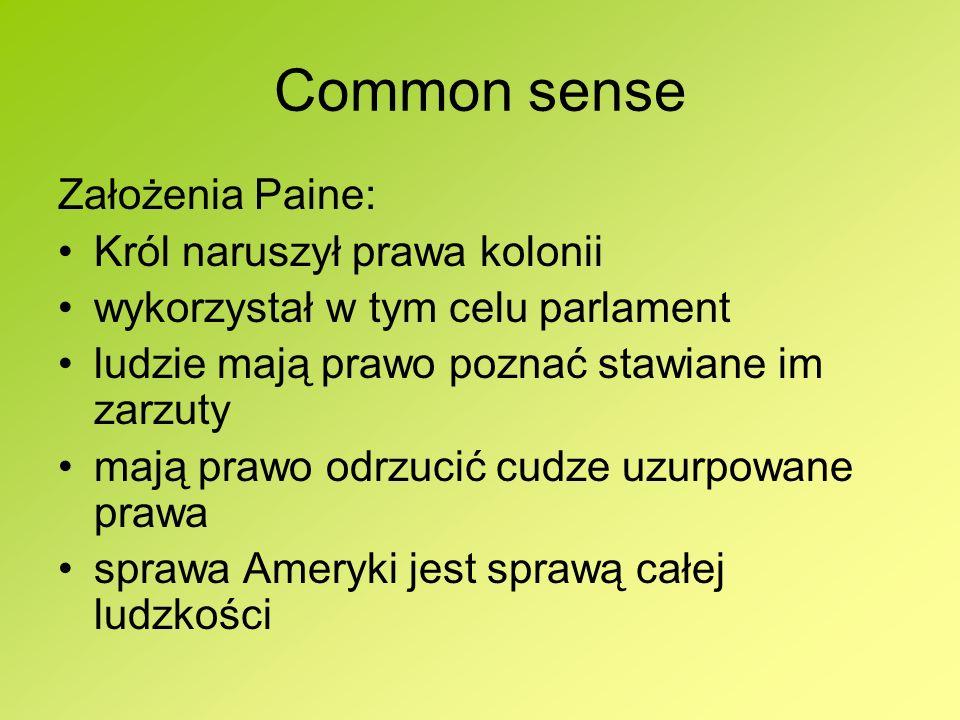 Common sense Założenia Paine: Król naruszył prawa kolonii