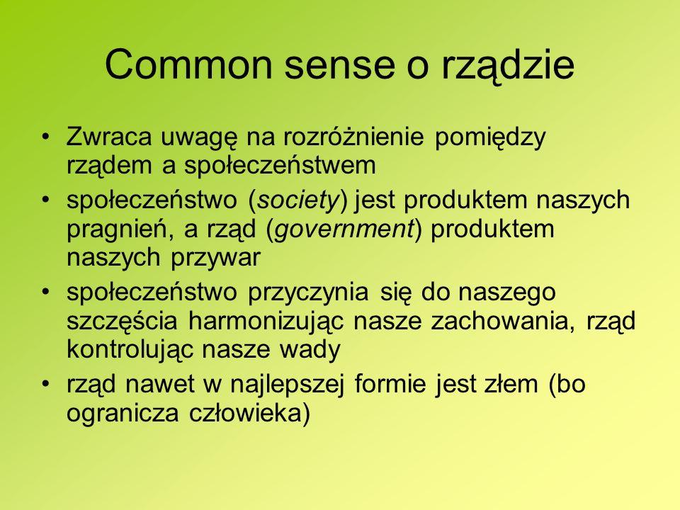 Common sense o rządzie Zwraca uwagę na rozróżnienie pomiędzy rządem a społeczeństwem.