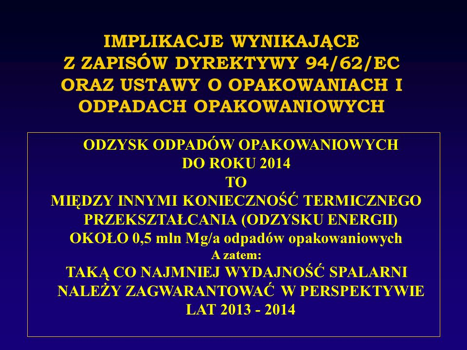 IMPLIKACJE WYNIKAJĄCE Z ZAPISÓW DYREKTYWY 94/62/EC