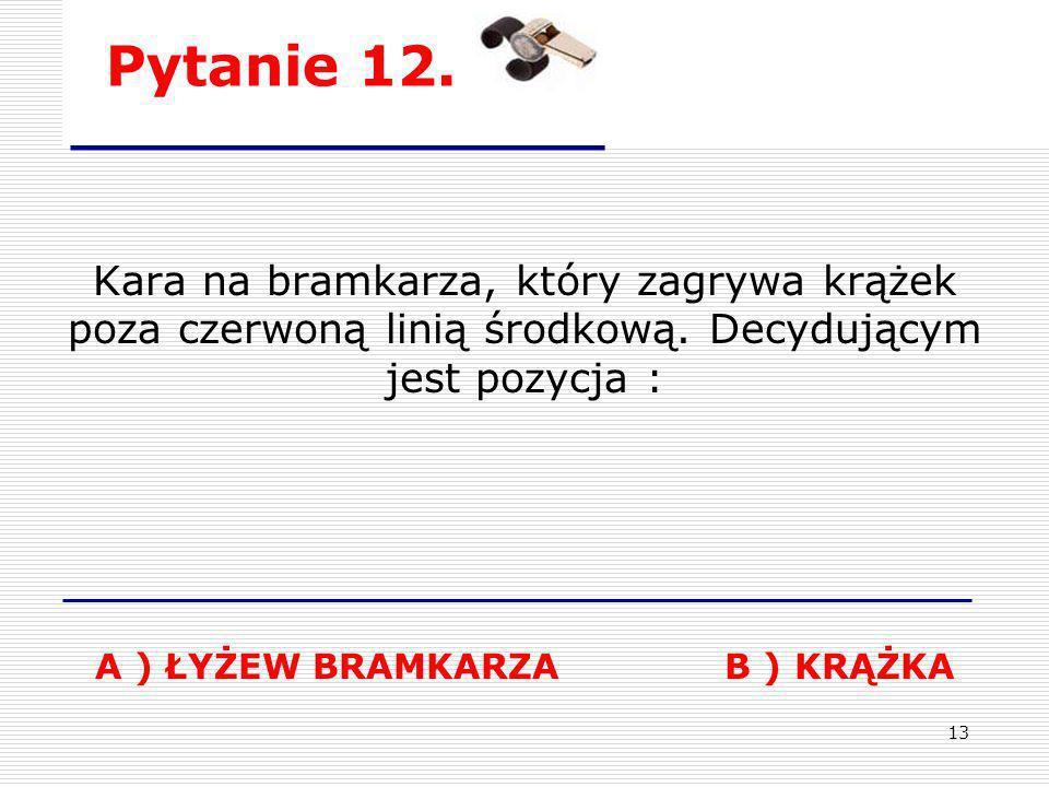 A ) ŁYŻEW BRAMKARZA B ) KRĄŻKA