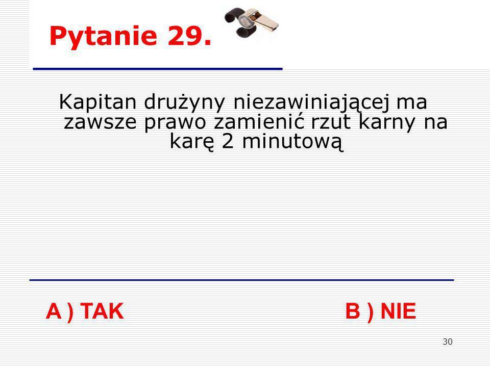 Pytanie 29. Kapitan drużyny niezawiniającej ma zawsze prawo zamienić rzut karny na karę 2 minutową.