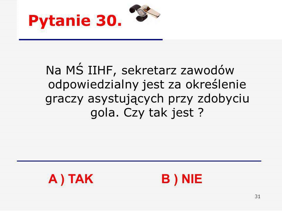 Pytanie 30. Na MŚ IIHF, sekretarz zawodów odpowiedzialny jest za określenie graczy asystujących przy zdobyciu gola. Czy tak jest