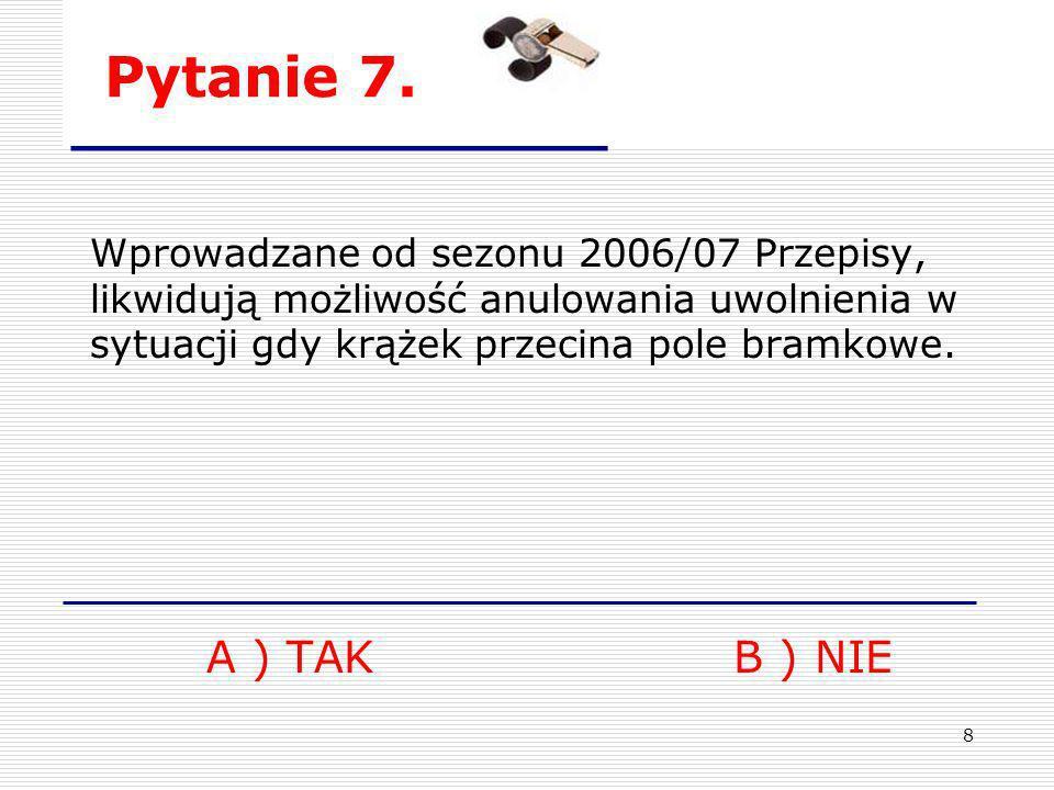 Pytanie 7. Wprowadzane od sezonu 2006/07 Przepisy, likwidują możliwość anulowania uwolnienia w sytuacji gdy krążek przecina pole bramkowe.