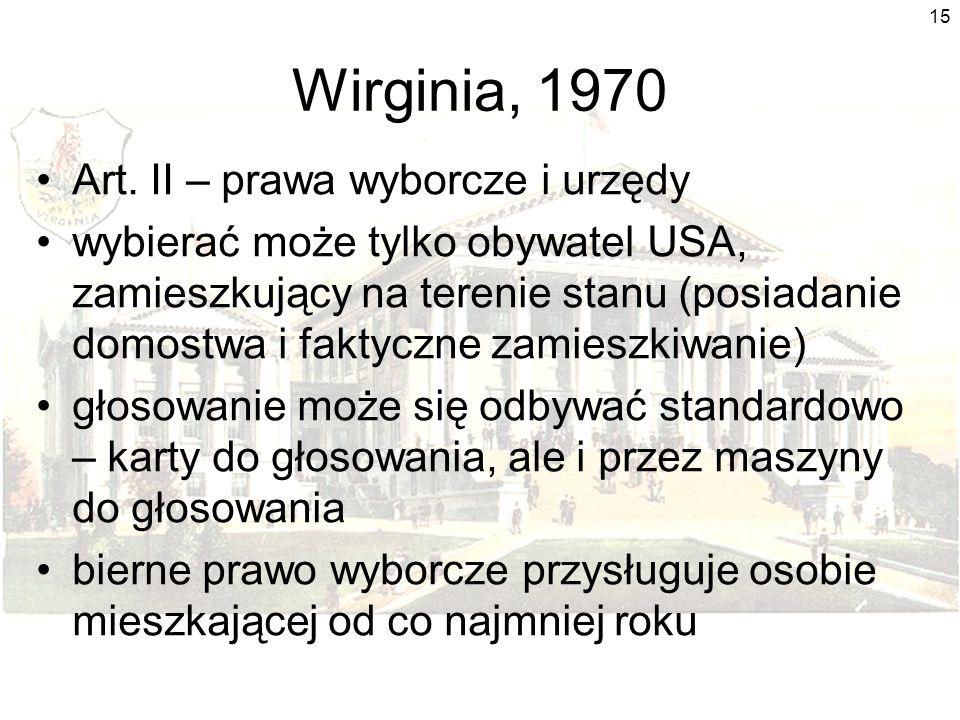 Wirginia, 1970 Art. II – prawa wyborcze i urzędy