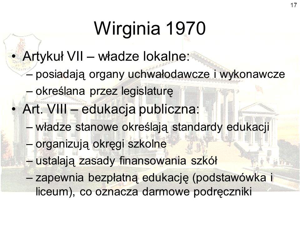 Wirginia 1970 Artykuł VII – władze lokalne: