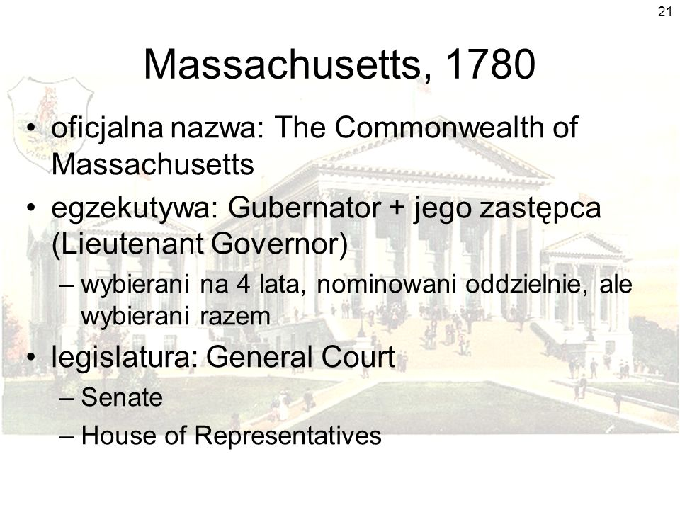Massachusetts, 1780 oficjalna nazwa: The Commonwealth of Massachusetts