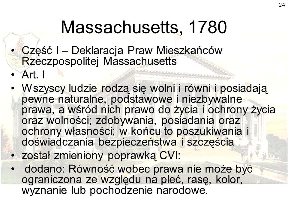 Massachusetts, 1780 Część I – Deklaracja Praw Mieszkańców Rzeczpospolitej Massachusetts. Art. I.