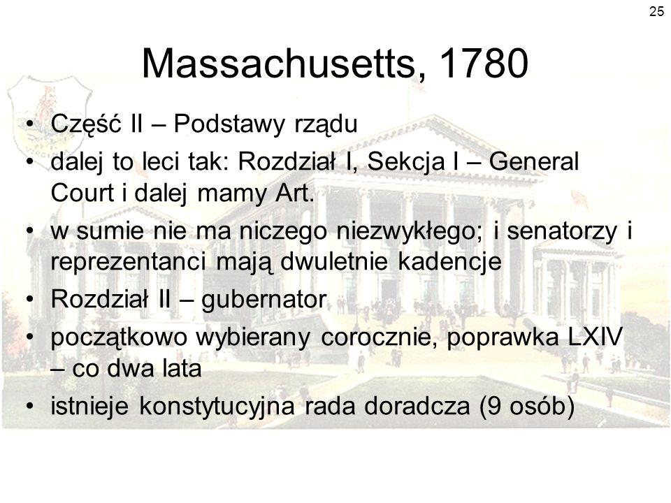 Massachusetts, 1780 Część II – Podstawy rządu