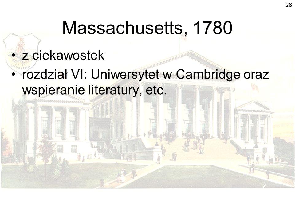 Massachusetts, 1780 z ciekawostek
