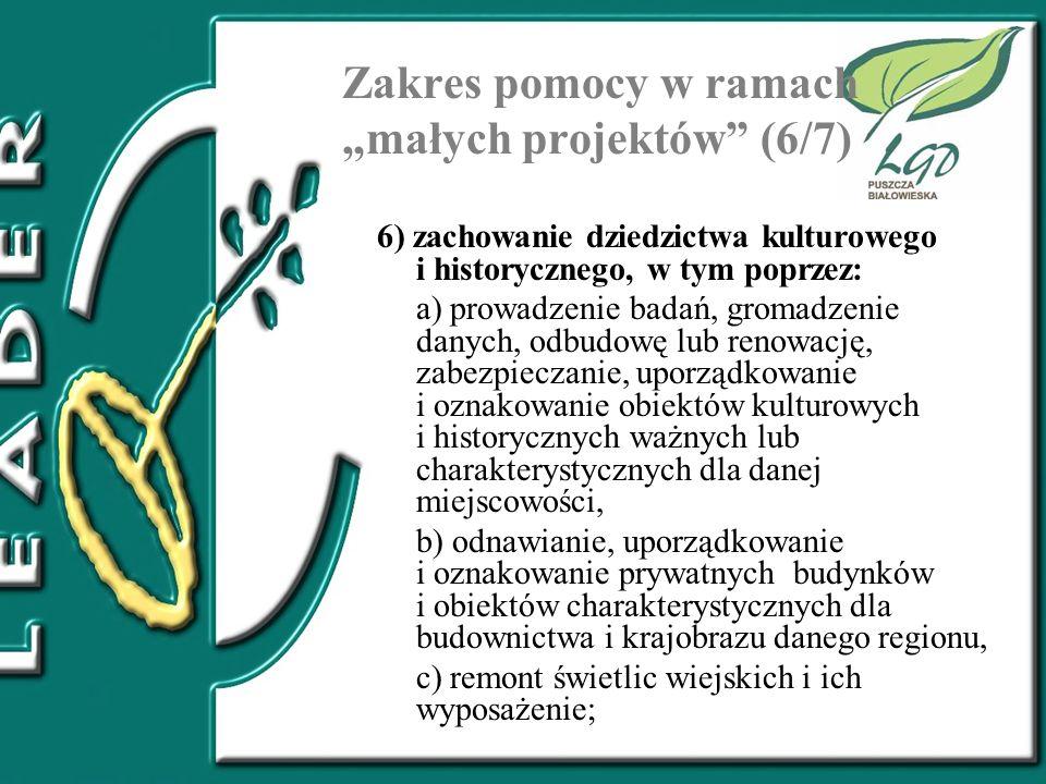 """Zakres pomocy w ramach """"małych projektów (6/7)"""