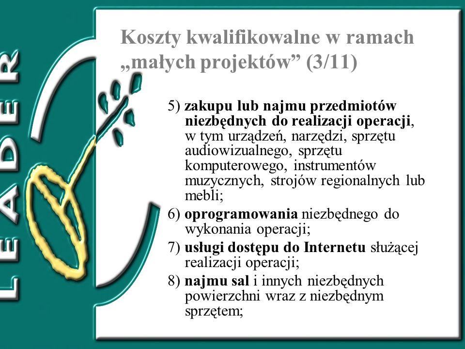 """Koszty kwalifikowalne w ramach """"małych projektów (3/11)"""