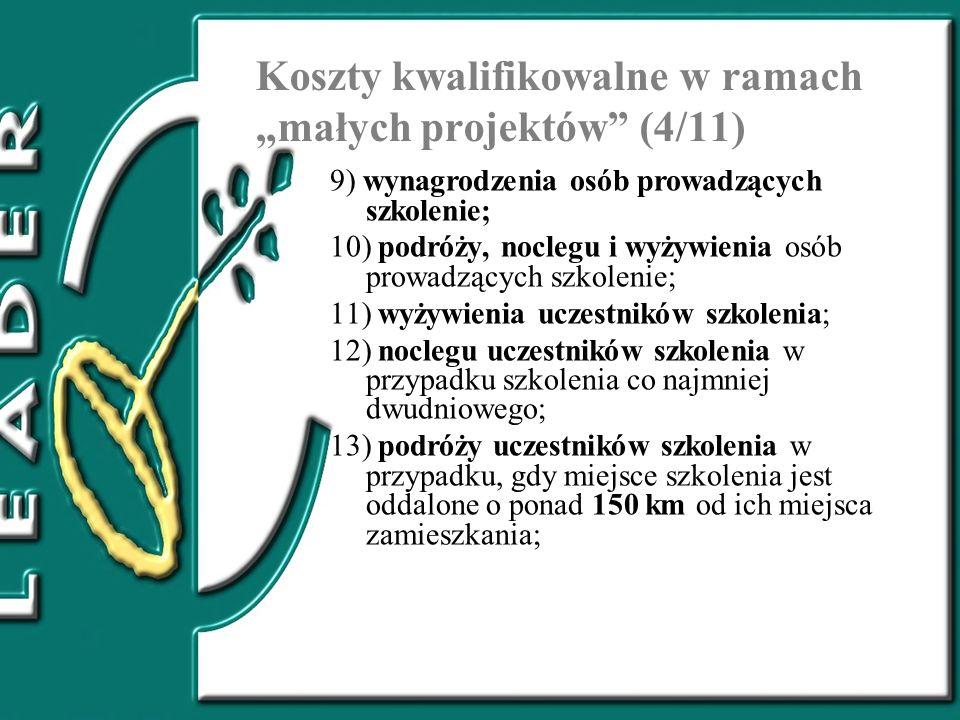 """Koszty kwalifikowalne w ramach """"małych projektów (4/11)"""