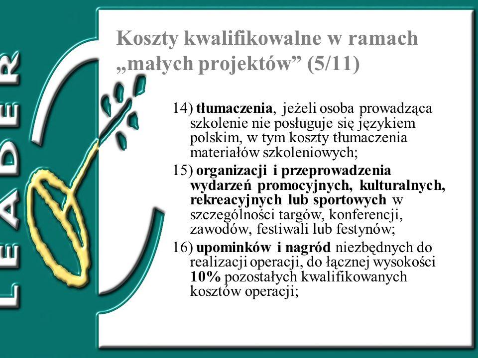 """Koszty kwalifikowalne w ramach """"małych projektów (5/11)"""